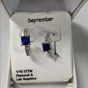 Jewelry - 1/10 CTTW DIAMOND/SAPPHIRE earrings